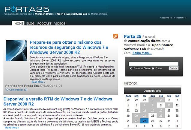 Projeto: Microsoft: Blog Porta 25