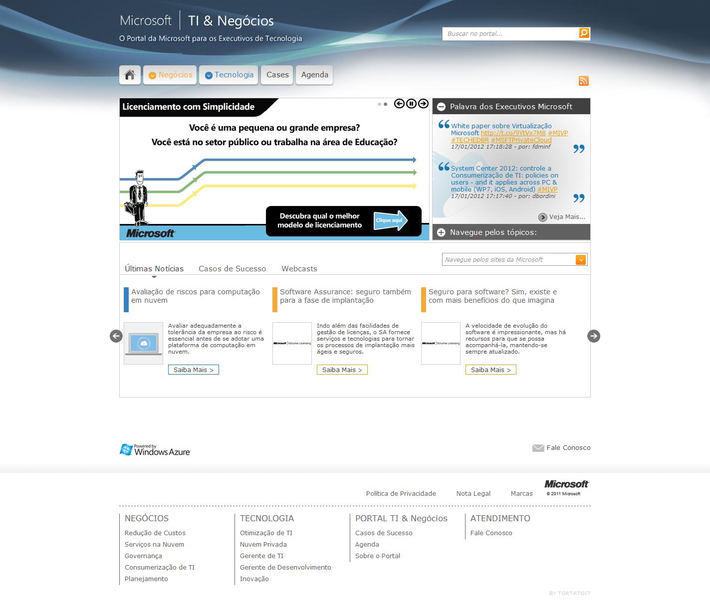 Projeto: Portal Microsoft TI & Negócios